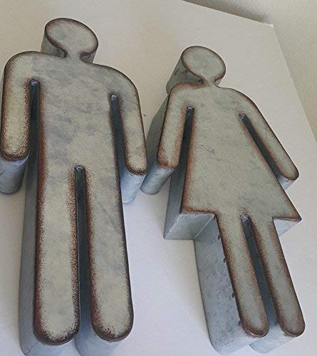 Galvanized Marquee His And Hers Symbols Restaurant Restroom Symbols Metal Signs 0 3