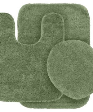 Garland Rug 3 Piece Traditional Nylon Washable Bathroom Rug Set Deep Fern 0 300x360