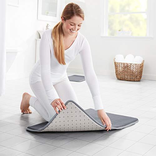 Genteele Memory Foam Bath Mat Non Slip Absorbent Super Cozy Velvet Bathroom Rug Carpet 17 Inches X 24 Inches Gray 0 4