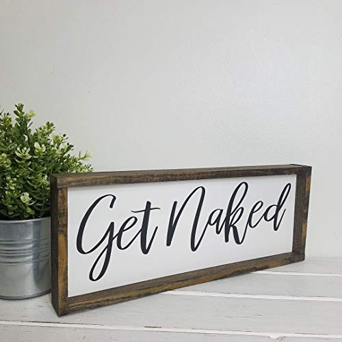 Get Naked Farmhouse Bathroom Decor Rustic Wood Sign 0 0