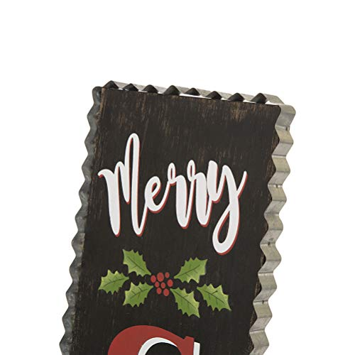 Glitzhome 3563 H Rustic Wooden Sign Black Merry Christmas Vertical Porch Sign Standing Hanging Holiday Party Signs Wall Door Decorations 0 1