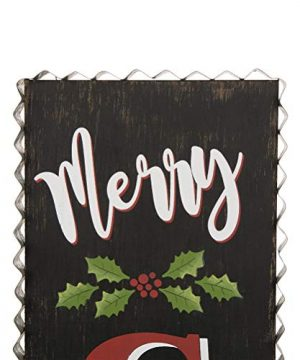 Glitzhome 3563 H Rustic Wooden Sign Black Merry Christmas Vertical Porch Sign Standing Hanging Holiday Party Signs Wall Door Decorations 0 4 300x360