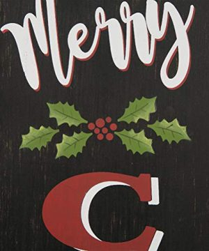 Glitzhome 3563 H Rustic Wooden Sign Black Merry Christmas Vertical Porch Sign Standing Hanging Holiday Party Signs Wall Door Decorations 0 5 300x360