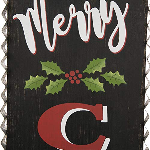 Glitzhome 3563 H Rustic Wooden Sign Black Merry Christmas Vertical Porch Sign Standing Hanging Holiday Party Signs Wall Door Decorations 0 5