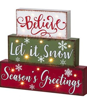 Glitzhome Christmas Table Decor Wooden Signs With Sayings Believe Let It Snow Seasons Greeting Farmhouse Wooden Block Set 1181 X 1059 Inches Wood Block Decor Winter Christmas Decor 0 0 300x360