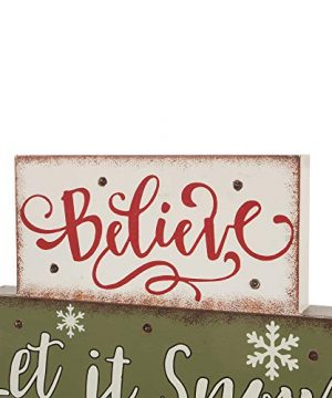 Glitzhome Christmas Table Decor Wooden Signs With Sayings Believe Let It Snow Seasons Greeting Farmhouse Wooden Block Set 1181 X 1059 Inches Wood Block Decor Winter Christmas Decor 0 1 300x360