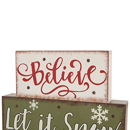 Glitzhome Christmas Table Decor Wooden Signs With Sayings Believe Let It Snow Seasons Greeting Farmhouse Wooden Block Set 1181 X 1059 Inches Wood Block Decor Winter Christmas Decor 0 1