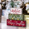 Glitzhome Christmas Table Decor Wooden Signs With Sayings Believe Let It Snow Seasons Greeting Farmhouse Wooden Block Set 1181 X 1059 Inches Wood Block Decor Winter Christmas Decor 0 100x100