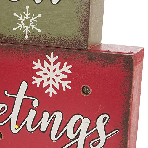 Glitzhome Christmas Table Decor Wooden Signs With Sayings Believe Let It Snow Seasons Greeting Farmhouse Wooden Block Set 1181 X 1059 Inches Wood Block Decor Winter Christmas Decor 0 3