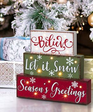 Glitzhome Christmas Table Decor Wooden Signs With Sayings Believe Let It Snow Seasons Greeting Farmhouse Wooden Block Set 1181 X 1059 Inches Wood Block Decor Winter Christmas Decor 0 300x360