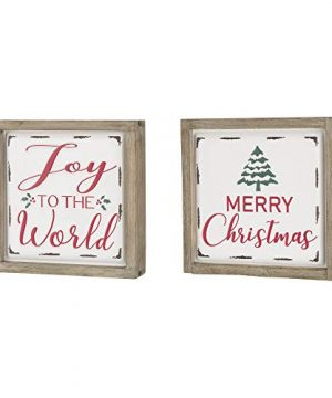 Glitzhome Farmhouse Christmas Decorations Set Of 2 Merry Christmas Joy Metal Wall Signs With Distressed Wood Frame 8 X 8 Inches Wall Hanging Rustic Christmas Decor With Sayings Wall Art 0 0 300x360