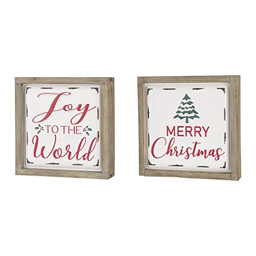 Glitzhome Farmhouse Christmas Decorations Set Of 2 Merry Christmas Joy Metal Wall Signs With Distressed Wood Frame 8 X 8 Inches Wall Hanging Rustic Christmas Decor With Sayings Wall Art 0 0