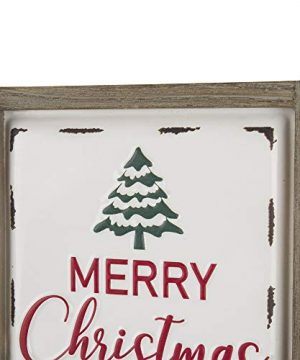 Glitzhome Farmhouse Christmas Decorations Set Of 2 Merry Christmas Joy Metal Wall Signs With Distressed Wood Frame 8 X 8 Inches Wall Hanging Rustic Christmas Decor With Sayings Wall Art 0 1 300x360