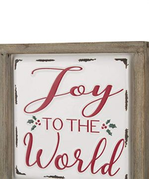 Glitzhome Farmhouse Christmas Decorations Set Of 2 Merry Christmas Joy Metal Wall Signs With Distressed Wood Frame 8 X 8 Inches Wall Hanging Rustic Christmas Decor With Sayings Wall Art 0 3 300x360