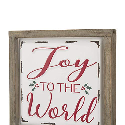Glitzhome Farmhouse Christmas Decorations Set Of 2 Merry Christmas Joy Metal Wall Signs With Distressed Wood Frame 8 X 8 Inches Wall Hanging Rustic Christmas Decor With Sayings Wall Art 0 3