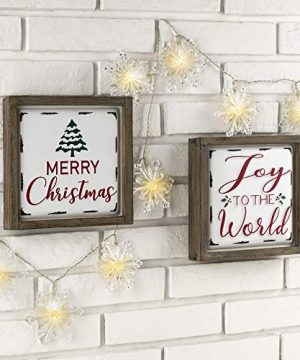 Glitzhome Farmhouse Christmas Decorations Set Of 2 Merry Christmas Joy Metal Wall Signs With Distressed Wood Frame 8 X 8 Inches Wall Hanging Rustic Christmas Decor With Sayings Wall Art 0 300x360
