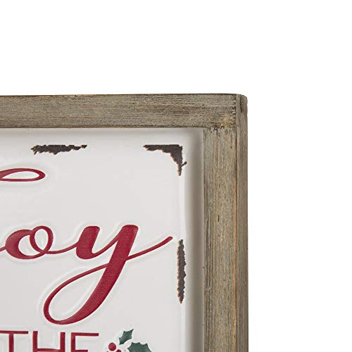 Glitzhome Farmhouse Christmas Decorations Set Of 2 Merry Christmas Joy Metal Wall Signs With Distressed Wood Frame 8 X 8 Inches Wall Hanging Rustic Christmas Decor With Sayings Wall Art 0 4