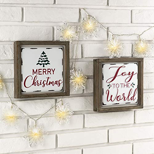Glitzhome Farmhouse Christmas Decorations Set Of 2 Merry Christmas Joy Metal Wall Signs With Distressed Wood Frame 8 X 8 Inches Wall Hanging Rustic Christmas Decor With Sayings Wall Art 0