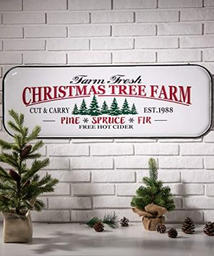 Glitzhome Metal Enamel Wall Signs Farmhouse Style Christmas Tree Home Decor 4311 H 0 0 300x360