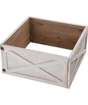 Glitzhome Washed White Wooden Tree Collar Tree Stand Cover Christmas Tree Skirt Tree Box 22 L 0 0 300x360