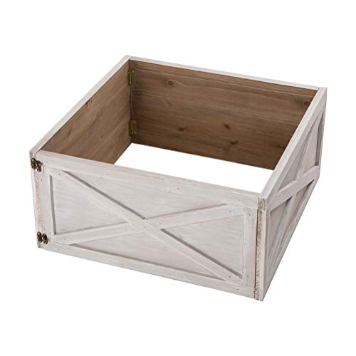 Glitzhome Washed White Wooden Tree Collar Tree Stand Cover Christmas Tree Skirt Tree Box 22 L 0 0