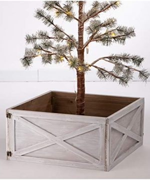 Glitzhome Washed White Wooden Tree Collar Tree Stand Cover Christmas Tree Skirt Tree Box 22 L 0 300x360