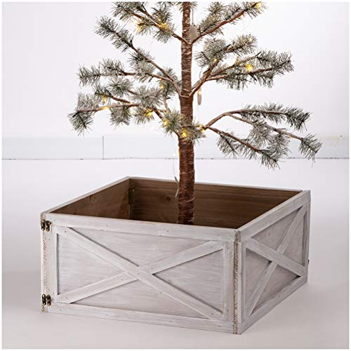 Glitzhome Washed White Wooden Tree Collar Tree Stand Cover Christmas Tree Skirt Tree Box 22 L 0