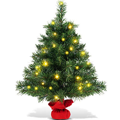 Goplus 2ft Tabletop Christmas Tree Small Artificial Premium Spruce Tree With 35 Warm White Led Lights Stable Cement Base Battery Operated For Xmas
