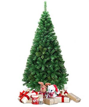 Goplus Artificial Christmas Tree Xmas Pine Tree With Solid Metal Legs Perfect For Indoor And Outdoor Holiday Decoration Green 5 FT 0 0 300x360