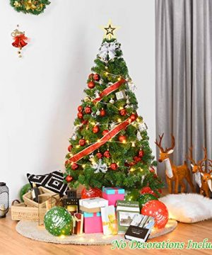 Goplus Artificial Christmas Tree Xmas Pine Tree With Solid Metal Legs Perfect For Indoor And Outdoor Holiday Decoration Green 5 FT 0 1 300x360