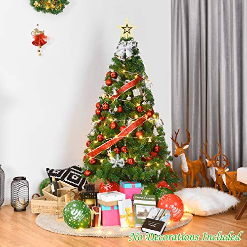 Goplus Artificial Christmas Tree Xmas Pine Tree With Solid Metal Legs Perfect For Indoor And Outdoor Holiday Decoration Green 5 FT 0 1