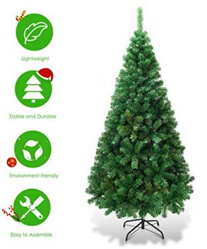 Goplus Artificial Christmas Tree Xmas Pine Tree With Solid Metal Legs Perfect For Indoor And Outdoor Holiday Decoration Green 5 FT 0 2 300x360