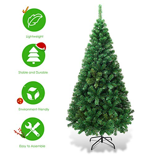 Goplus Artificial Christmas Tree Xmas Pine Tree With Solid Metal Legs Perfect For Indoor And Outdoor Holiday Decoration Green 5 FT 0 2