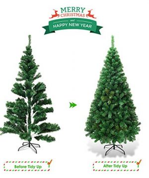 Goplus Artificial Christmas Tree Xmas Pine Tree With Solid Metal Legs Perfect For Indoor And Outdoor Holiday Decoration Green 5 FT 0 3 300x360