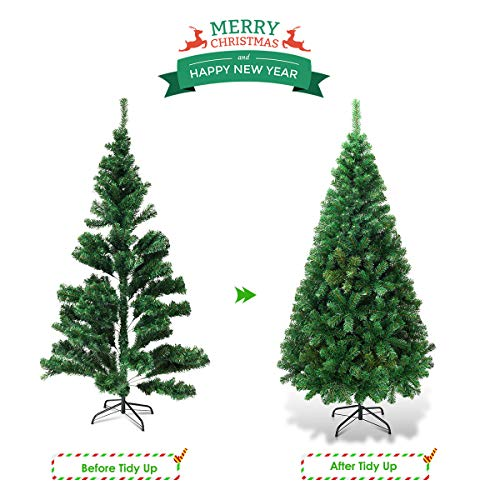 Goplus Artificial Christmas Tree Xmas Pine Tree With Solid Metal Legs Perfect For Indoor And Outdoor Holiday Decoration Green 5 FT 0 3