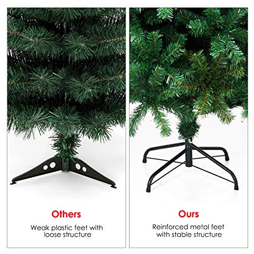 Goplus Artificial Christmas Tree Xmas Pine Tree With Solid Metal Legs Perfect For Indoor And Outdoor Holiday Decoration Green 5 FT 0 4