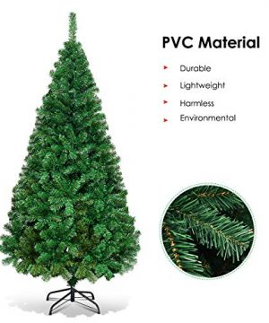 Goplus Artificial Christmas Tree Xmas Pine Tree With Solid Metal Legs Perfect For Indoor And Outdoor Holiday Decoration Green 5 FT 0 5 300x360
