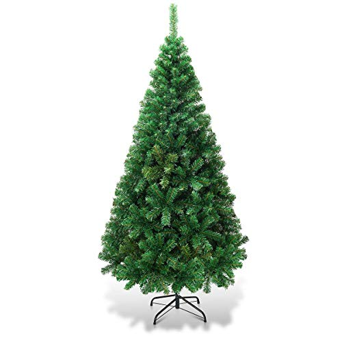 Goplus Artificial Christmas Tree Xmas Pine Tree With Solid Metal Legs Perfect For Indoor And Outdoor Holiday Decoration Green 5 FT 0