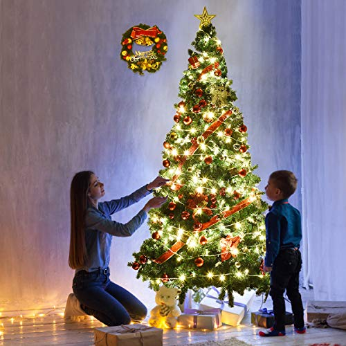 Goplus Artificial Christmas Tree Xmas Pine Tree With Solid Metal Legs Perfect For Indoor And Outdoor Holiday Decoration Green 7 FT 0 0