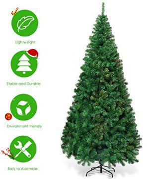 Goplus Artificial Christmas Tree Xmas Pine Tree With Solid Metal Legs Perfect For Indoor And Outdoor Holiday Decoration Green 7 FT 0 1 300x360