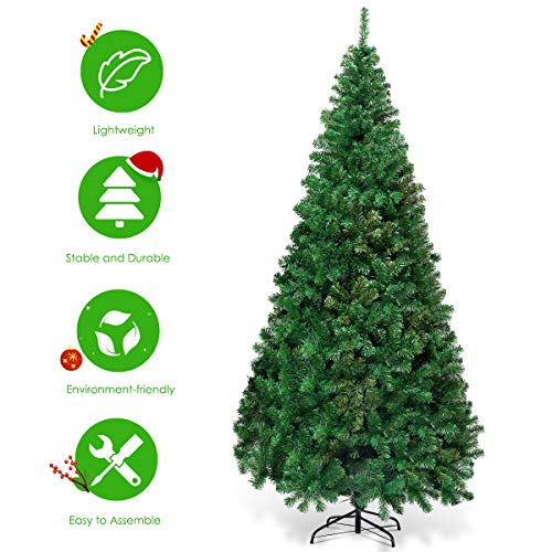 Goplus Artificial Christmas Tree Xmas Pine Tree With Solid Metal Legs Perfect For Indoor And Outdoor Holiday Decoration Green 7 FT 0 1