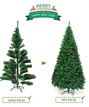 Goplus Artificial Christmas Tree Xmas Pine Tree With Solid Metal Legs Perfect For Indoor And Outdoor Holiday Decoration Green 7 FT 0 2 300x360