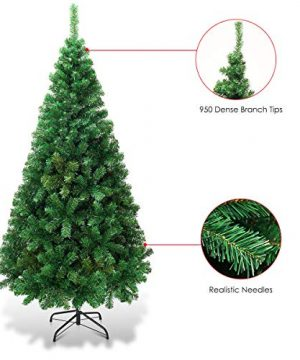 Goplus Artificial Christmas Tree Xmas Pine Tree With Solid Metal Legs Perfect For Indoor And Outdoor Holiday Decoration Green 7 FT 0 3 300x360