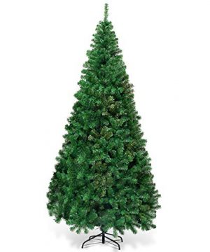 Goplus Artificial Christmas Tree Xmas Pine Tree With Solid Metal Legs Perfect For Indoor And Outdoor Holiday Decoration Green 7 FT 0 300x360