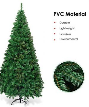 Goplus Artificial Christmas Tree Xmas Pine Tree With Solid Metal Legs Perfect For Indoor And Outdoor Holiday Decoration Green 7 FT 0 4 300x360