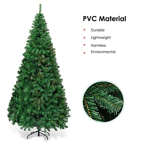 Goplus Artificial Christmas Tree Xmas Pine Tree With Solid Metal Legs Perfect For Indoor And Outdoor Holiday Decoration Green 7 FT 0 4