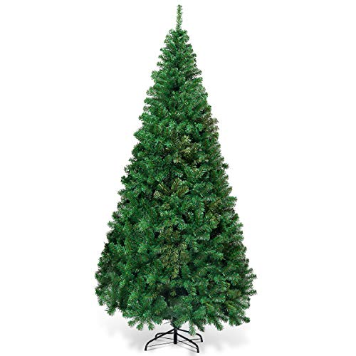 Goplus Artificial Christmas Tree Xmas Pine Tree With Solid Metal Legs Perfect For Indoor And Outdoor Holiday Decoration Green 7 FT 0
