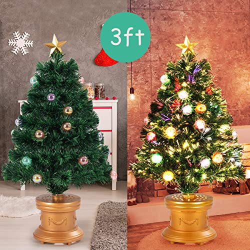 Tabletop Fibre Optic Christmas Tree: Goplus Christmas Tree Pre-Lit Tabletop Artificial Entrance