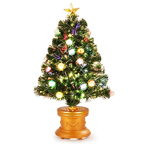 Goplus Christmas Tree Pre Lit Tabletop Artificial Entrance Tree With The Plastic Colorful Balls Golden Star Solid Base Premium Decorations Full Tree