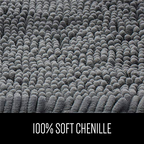 Gorilla Grip Original Luxury Chenille Bathroom Rug Mat 30x20 Extra Soft And Absorbent Shaggy Rugs Machine Wash Dry Perfect Plush Carpet Mats For Tub Shower And Bath Room Gray 0 1